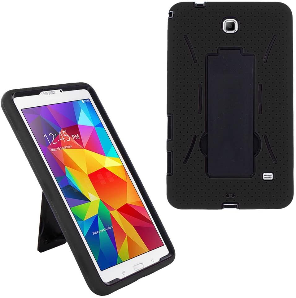 Galaxy Tab 4 7.0 2014 T230 Case, KIQ Shockproof Heavy Duty Dual-Layer Full-Body Rugged Kickstand Screen Protector Case Cover for Samsung Galaxy Tab 4 7-inch SM-T230 (Hybrid Black-in/Black)