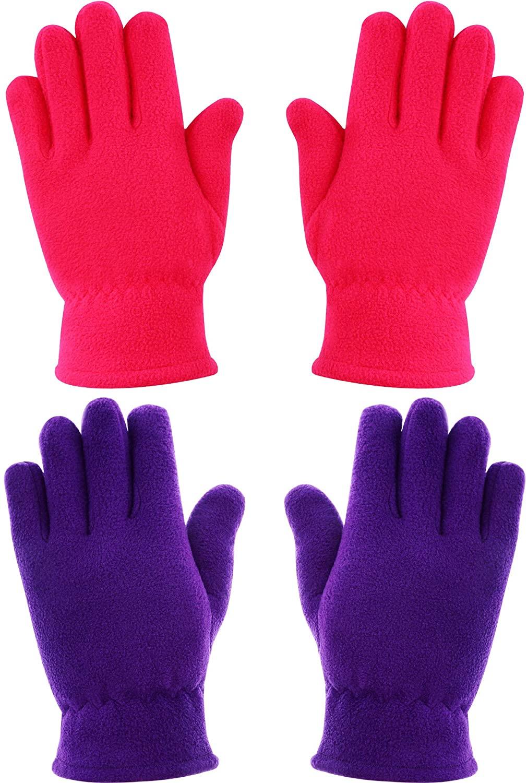 SATINIOR 2 Pairs Kids Gloves Boys Girls Fleece Gloves Full Fingers Warm Gloves for Winter Outdoors Activities Supplies