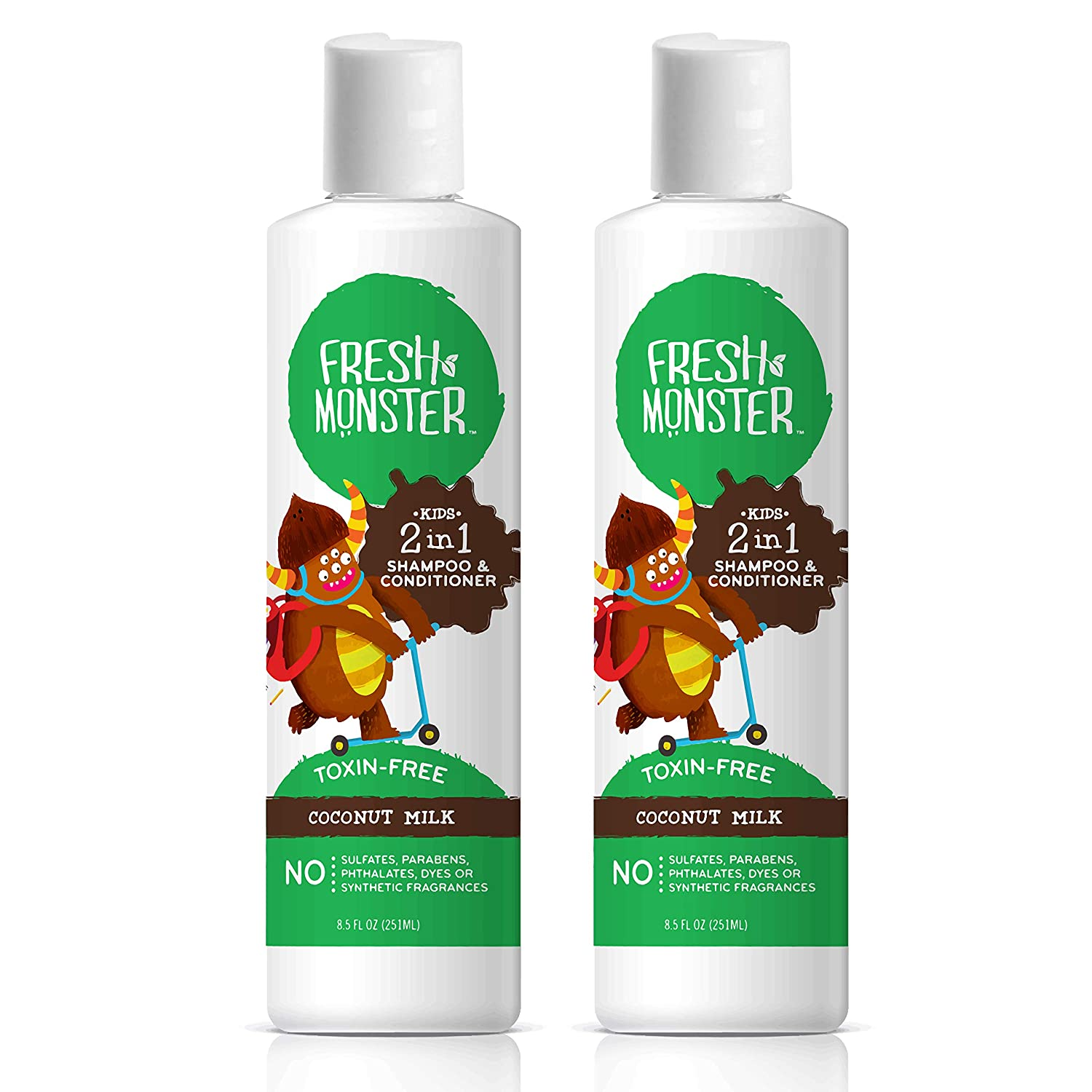 Fresh Monster Toxin-Free Hypoallergenic 2-in-1 Kids Shampoo & Conditioner, Coconut (2 Pack, 8.5oz/each)