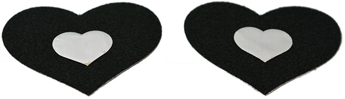 Black & Silver Heart Nipple Cover Pasties 5 pair Adhesive Disposable Breast Stickers