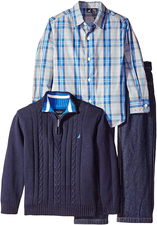 Nautica Boys' 3 Piece Set Woven - Sweater and Denim Pant
