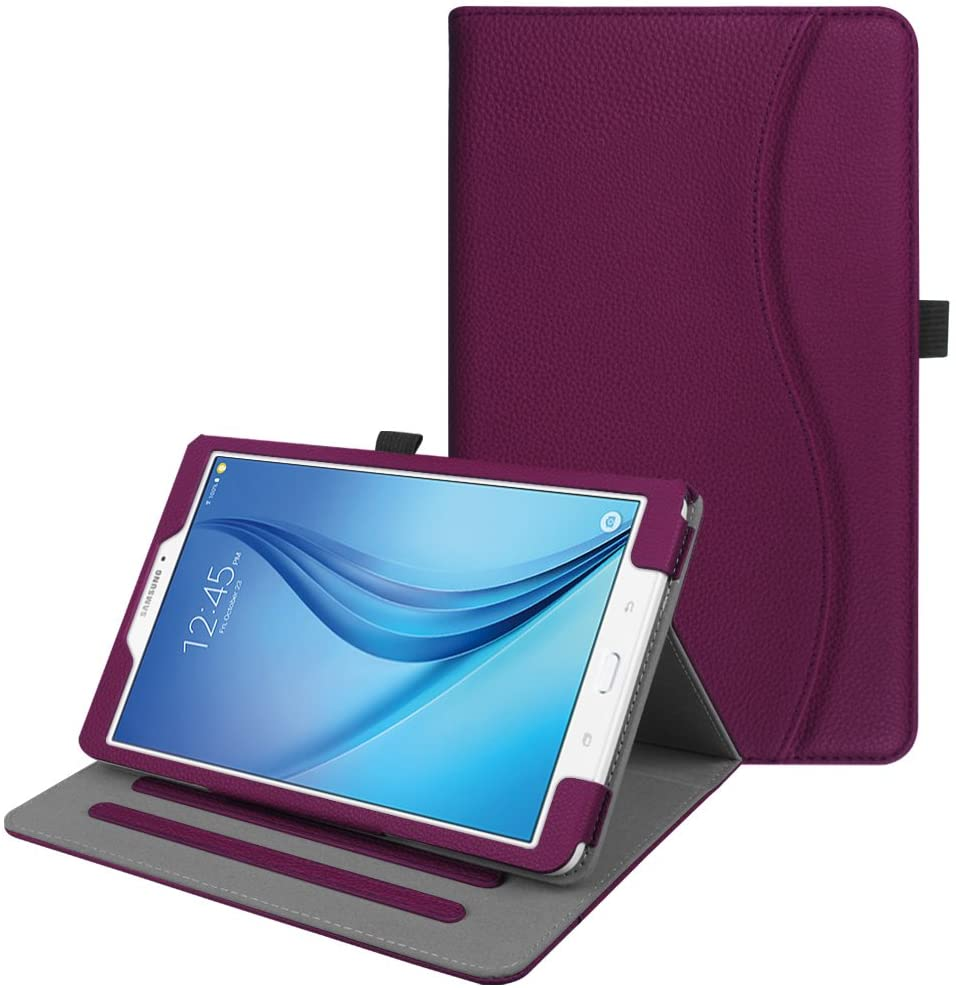 Fintie Case for Samsung Galaxy Tab E 9.6, [Corner Protection] Multi-Angle Viewing Stand Cover with Packet for Tab E Wi-Fi/Tab E Nook/Tab E Verizon 9.6-Inch Tablet, Purple