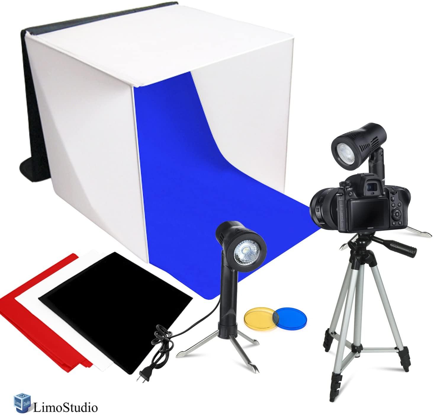 LimoStudio Photography Photo Video Studio Lighting Kit Set Photo Studio Light Box, 2 x High Output Lights, 4 x Chromakey Backgrounds, 1 x 41