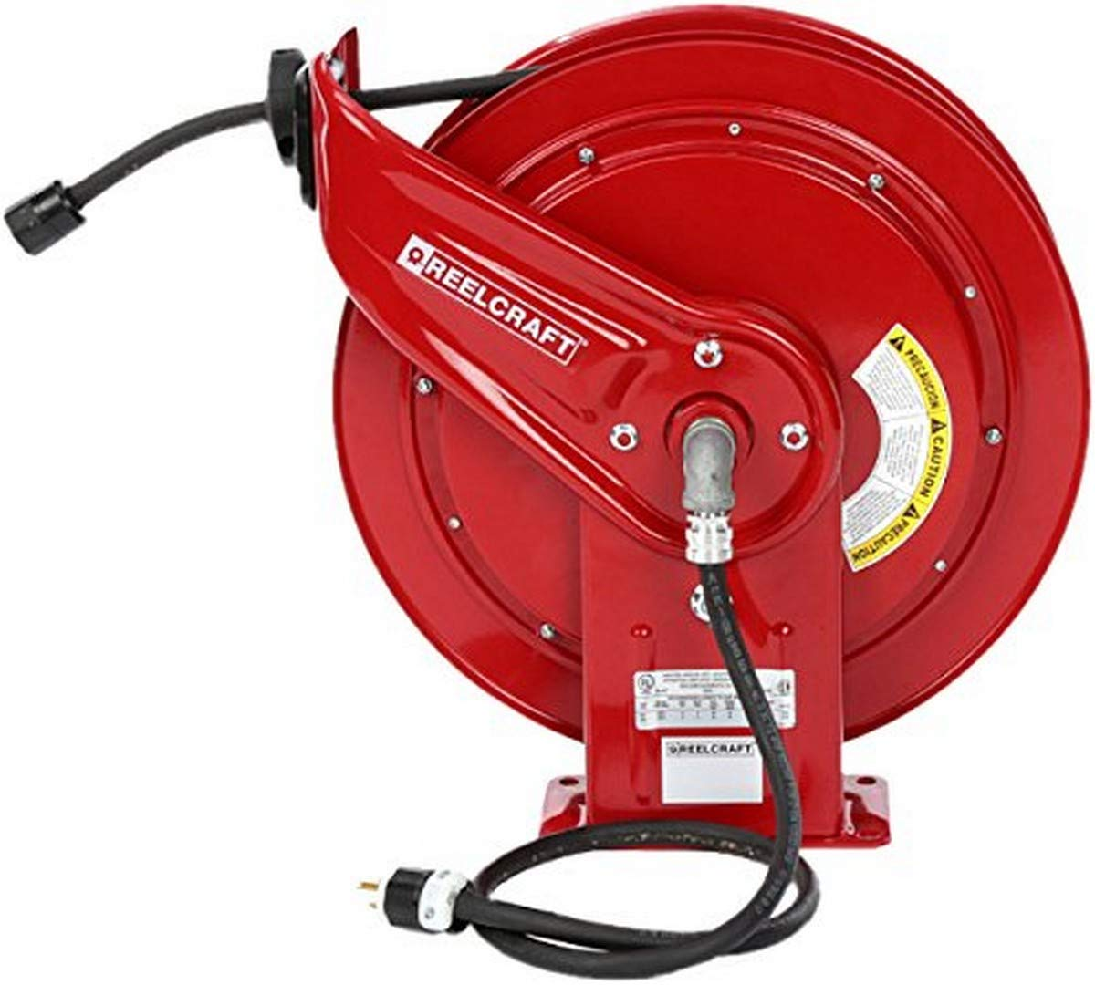 Reelcraft L 70100 123 3 Spring Retractable Cord Reel, 12 AWG/3 Conductors x 100', 15 AMP, Single Outlet, Cord Included
