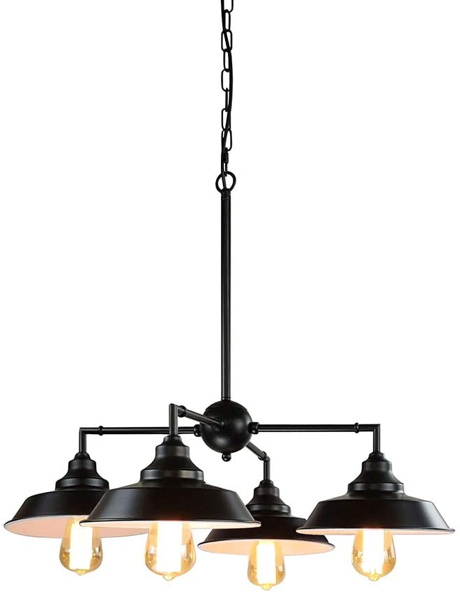 Longwind 4 Lights Industrial Chandelier Lighting,Island Pendant Light Fixture with Oil Rubbed Bronze Finish Highlights