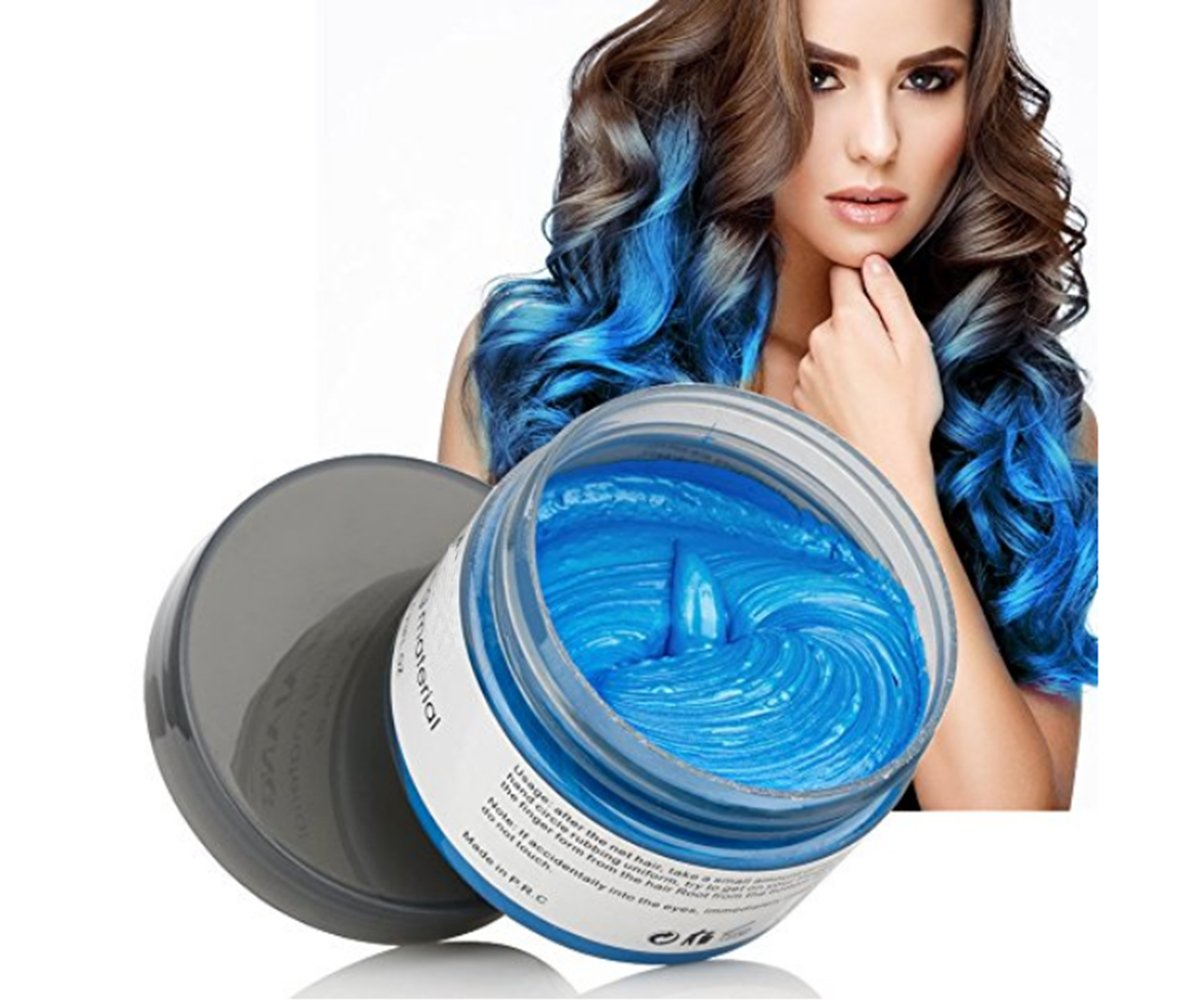 Harajuku Style Styling Products Hair Color Wax Dye One-time Molding Paste Seven Colors Hair Dye Wax Hair Dyes (Blue)