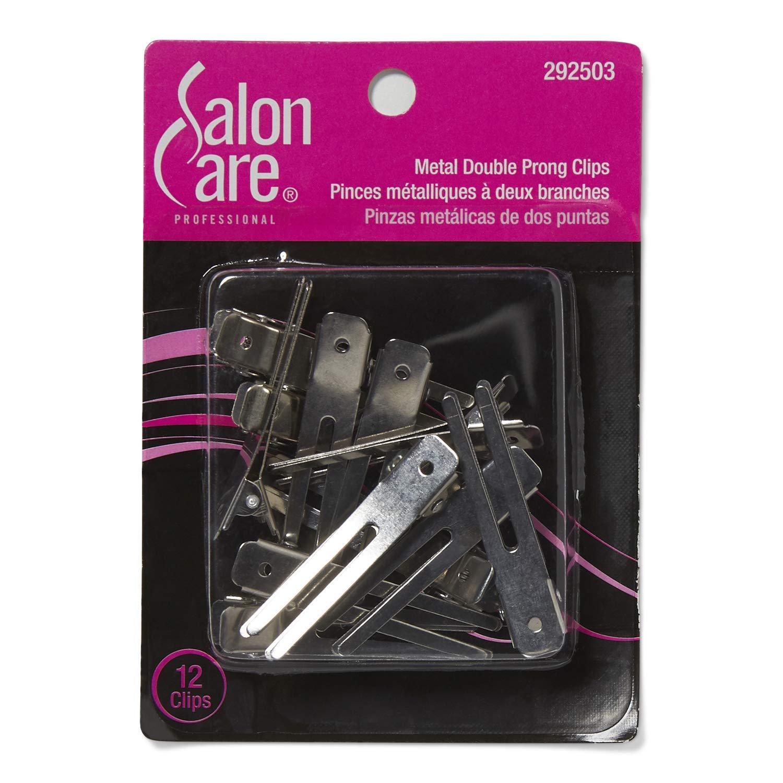Salon Care Metal Double Prong Curl Clips