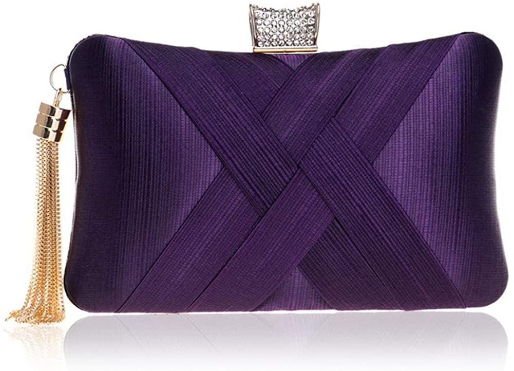 Kartisen Evening Clutch Bags for Women, Silk Satin Party Evening Handbags, Bridal Wedding Purses with Tassel Pendant