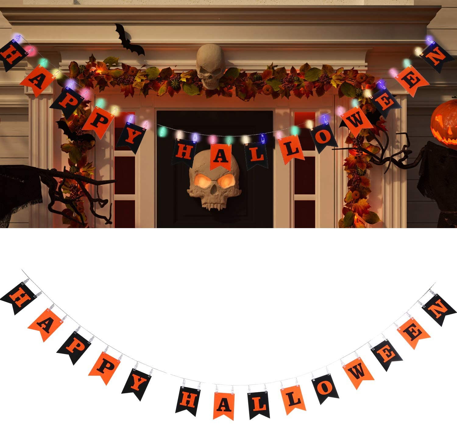Tatuo Happy Halloween Banner Letter Hanging Banner with 9.8 Feet Multicoloured Led String Lights Photo Clip for Halloween Party Home Indoor and Outdoor Decorations