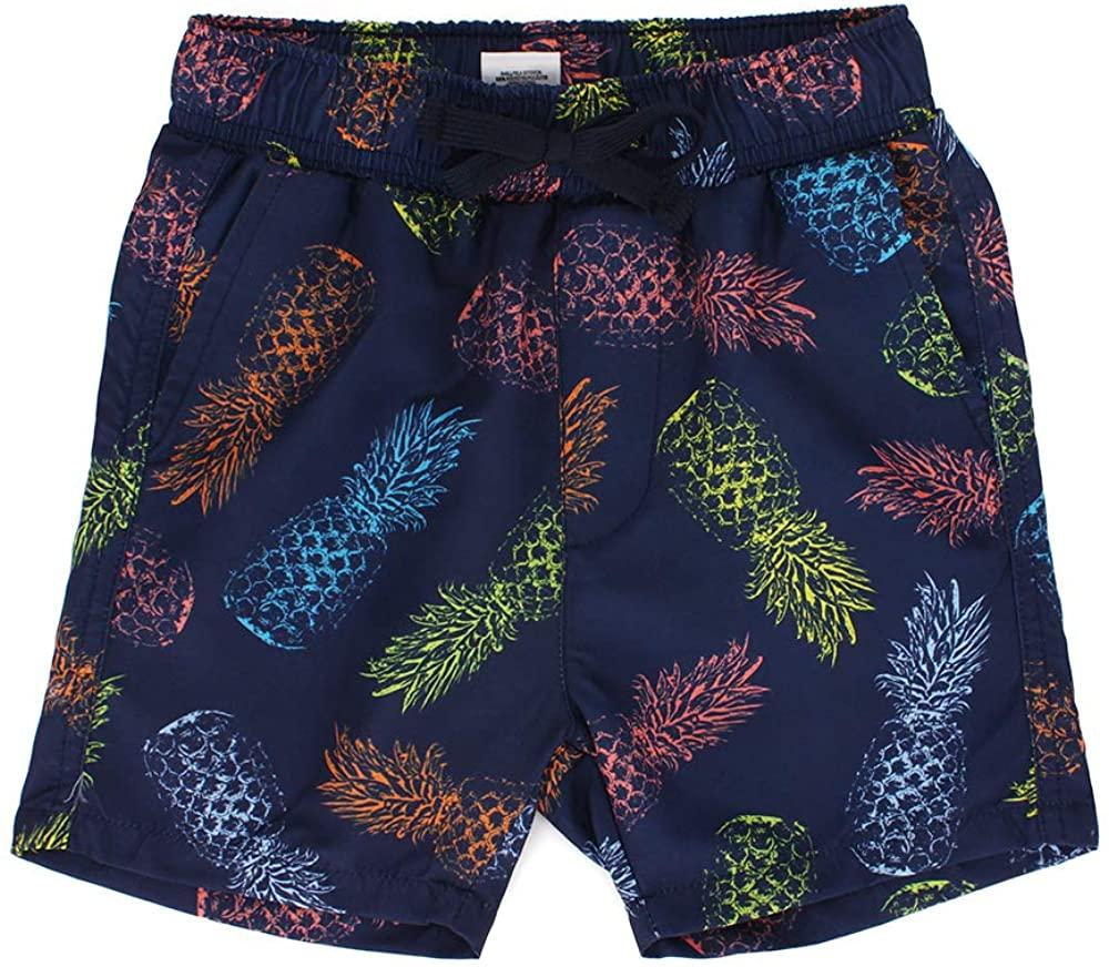 ESTAMICO Boys' Quick Dry Beach Swim Trunk Printed Board Shorts with Pockets