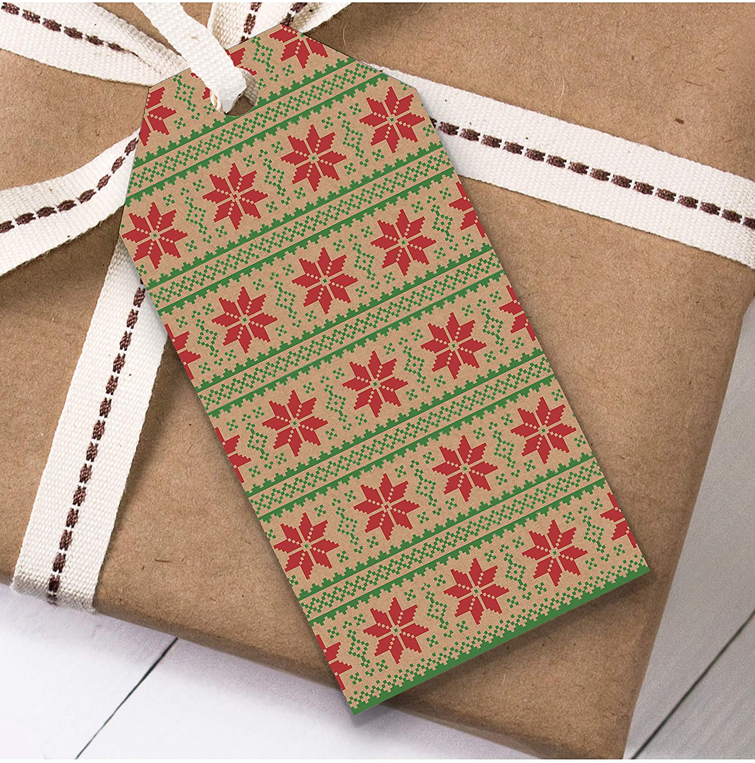 Snowflake Pattern Christmas Gift Tags (Present Favor Labels)