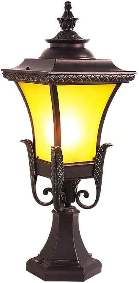 Pcqre IP54 Outdoor Aluminum Alloy Landscape Light Courtyard Creative Waterproof Column Lamp American Style Decoration Pillar Lamp Villa E27 Garden Post Lamp Patio Lighting Lawn Light