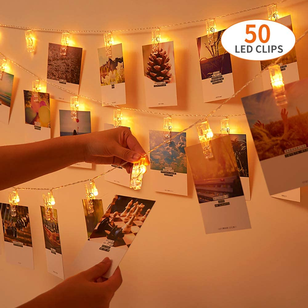 VTECHOLOGY 50 Photo Clip Lights, Battery Operated Photo String Light for Hanging Photos, Pictures and Cards, Bedroom, Tree, Party, Birthday, Christmas, Wedding Decoration
