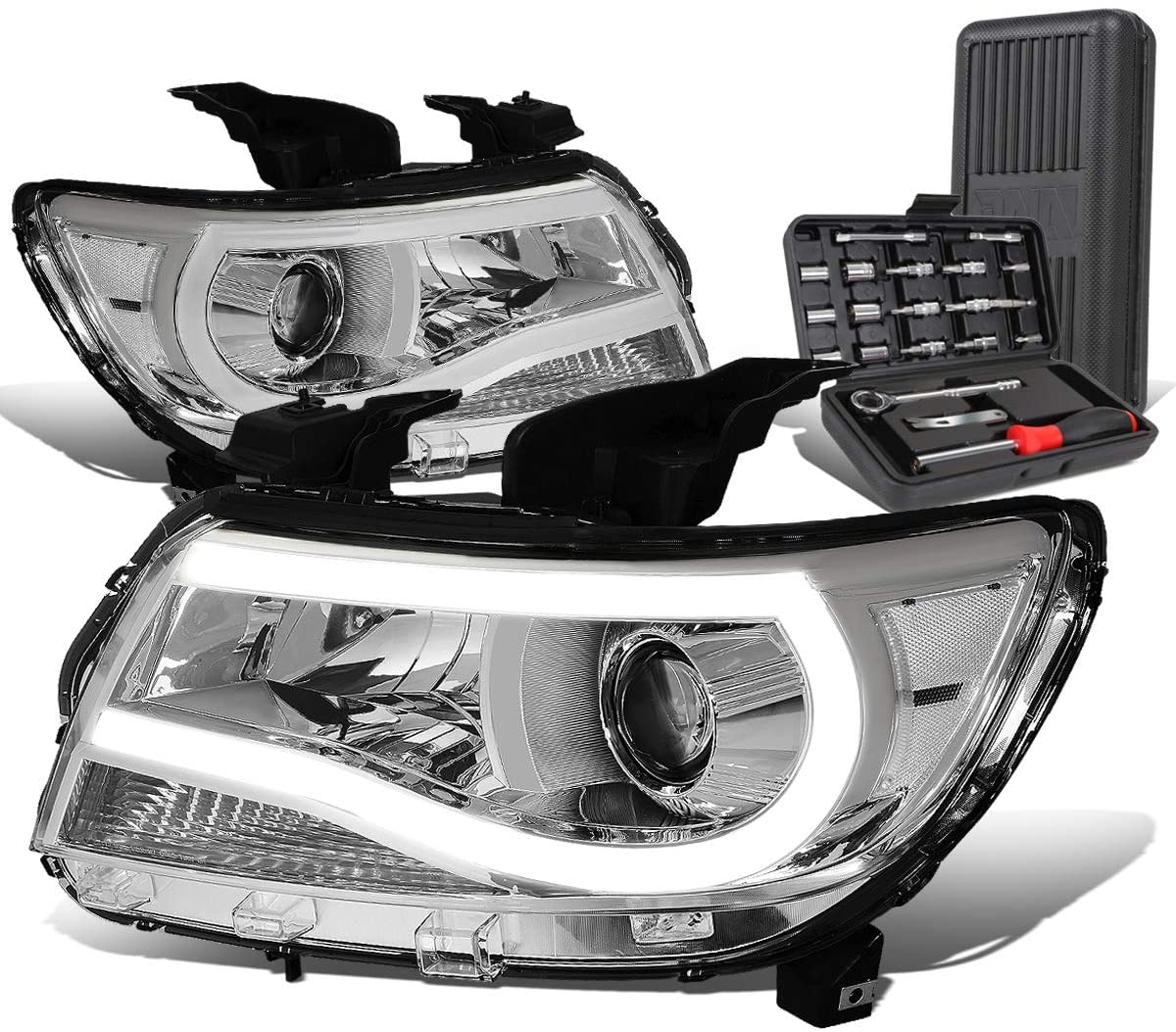 3D LED DRL U-Trip Chrome Housing Clear Corner Projector Headlight+Tool Kit Replacement for Chevy Colorado 15-19