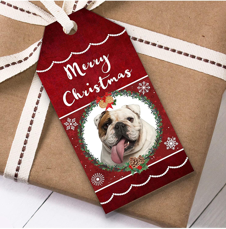 English Bulldog Dog Christmas Gift Tags (Present Favor Labels)
