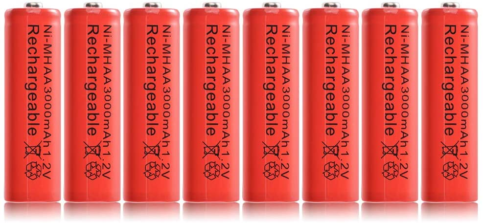 StepWorlf 8pcs Ni-MH AA 3000mah 1.2V Rechargeable Batteries Battery Nickel Hydride RC1028