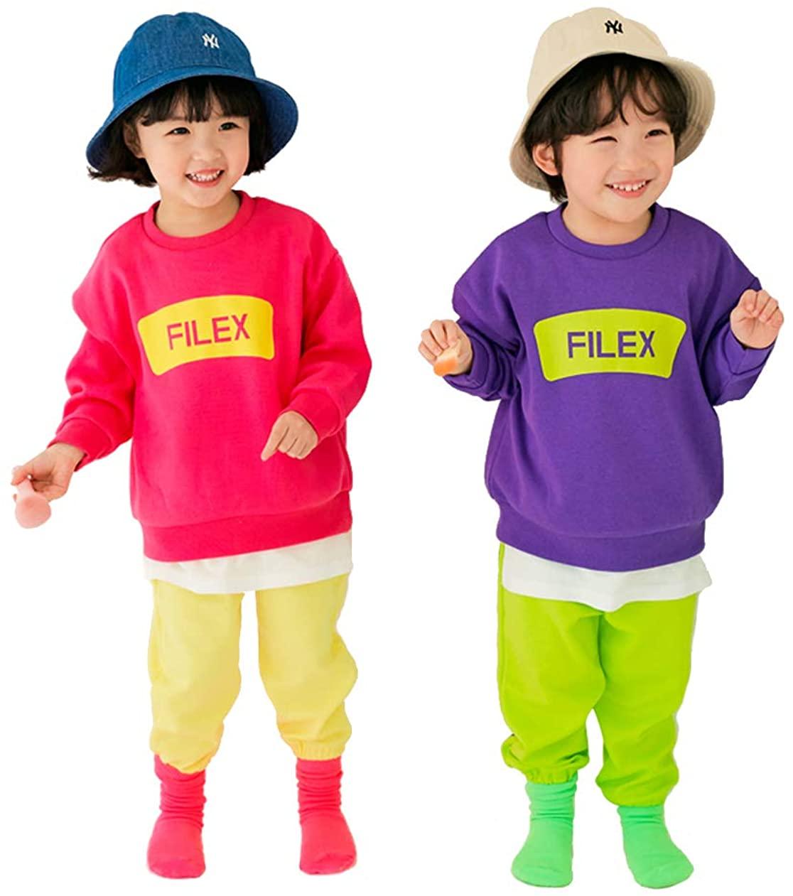 EUCACA 2Pcs Kids Boys Girls Clothing Sets Long-Sleeved + Pants 2-7Years Old Filex Set 2Color