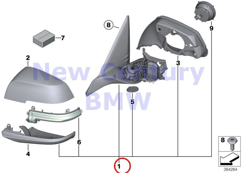 BMW Genuine Outside Mirror Right Memory Bus Heated Outside Mirror X1 28i X1 28iX X1 35iX