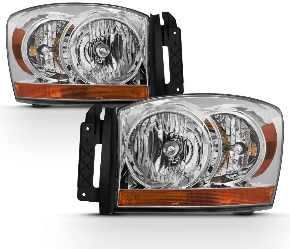 ACANII - For 2006-2008 Dodge Ram 1500 2500 3500 Chrome Bezel Headlights Headlamps Driver + Passenger Side