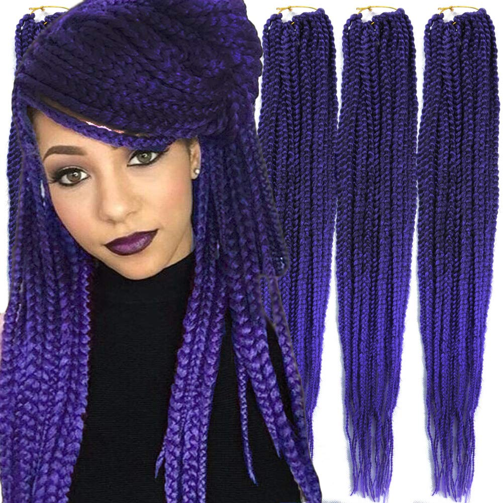 6 Packs/Lot (14/18/24/30) inch 1cm 20 Strands/Pack Thin 3X Box Braid Crochet Hair Extensionin Diameter 3X Synthetic Braid Hair Extensions Crochet Braids Hair Color(24Inch T1B/purple)