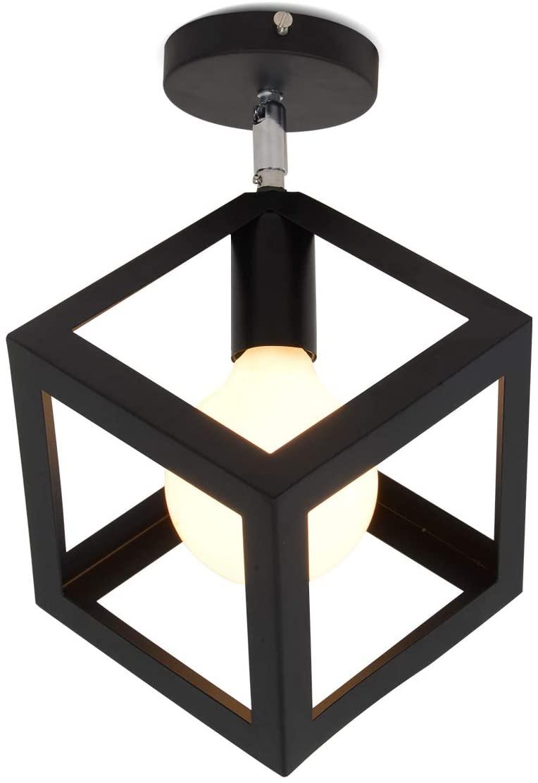 EERU Flush Mount Ceiling Light,Geometric Metal Cube Pendant Light Ceiling Light Fixture for Hallway Stairway Bedroom Kitchen, Black.