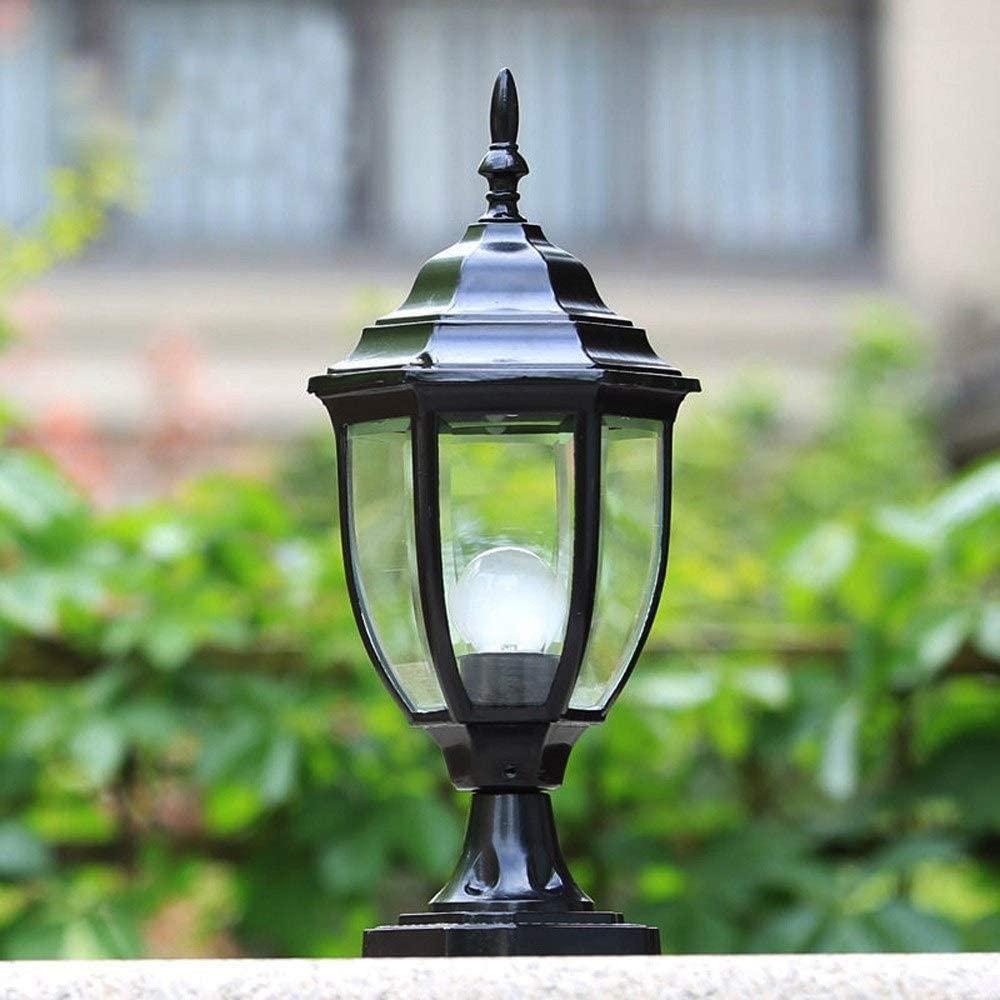 WHYA European Outdoor Patio Column Lamp Lawn Lights Waterproof Aluminum Metal Outdoor External Rainproof Postal Lighting Fitting Traditional Victoria Glass Landscape Pillar Lantern E27