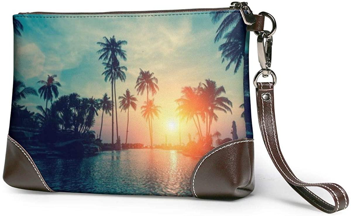Tropical Palm Tree WallpaperWomens Leather Wristlet Clutch Zipper Wallet Case Cellphone Purse Handbag