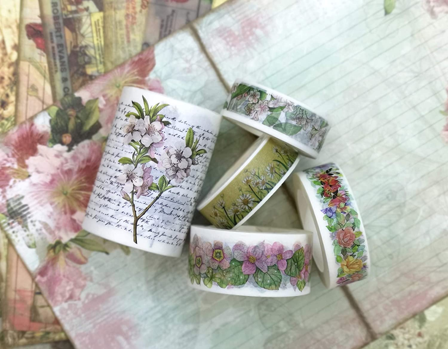 Vintage Florals washi Tape (5 Rolls), Sticker and Paper Set. for scrapbooks, Gift Wrapping, Custom Cards, framing and Crafts INCL Extra Long Tapes of 394 inches!