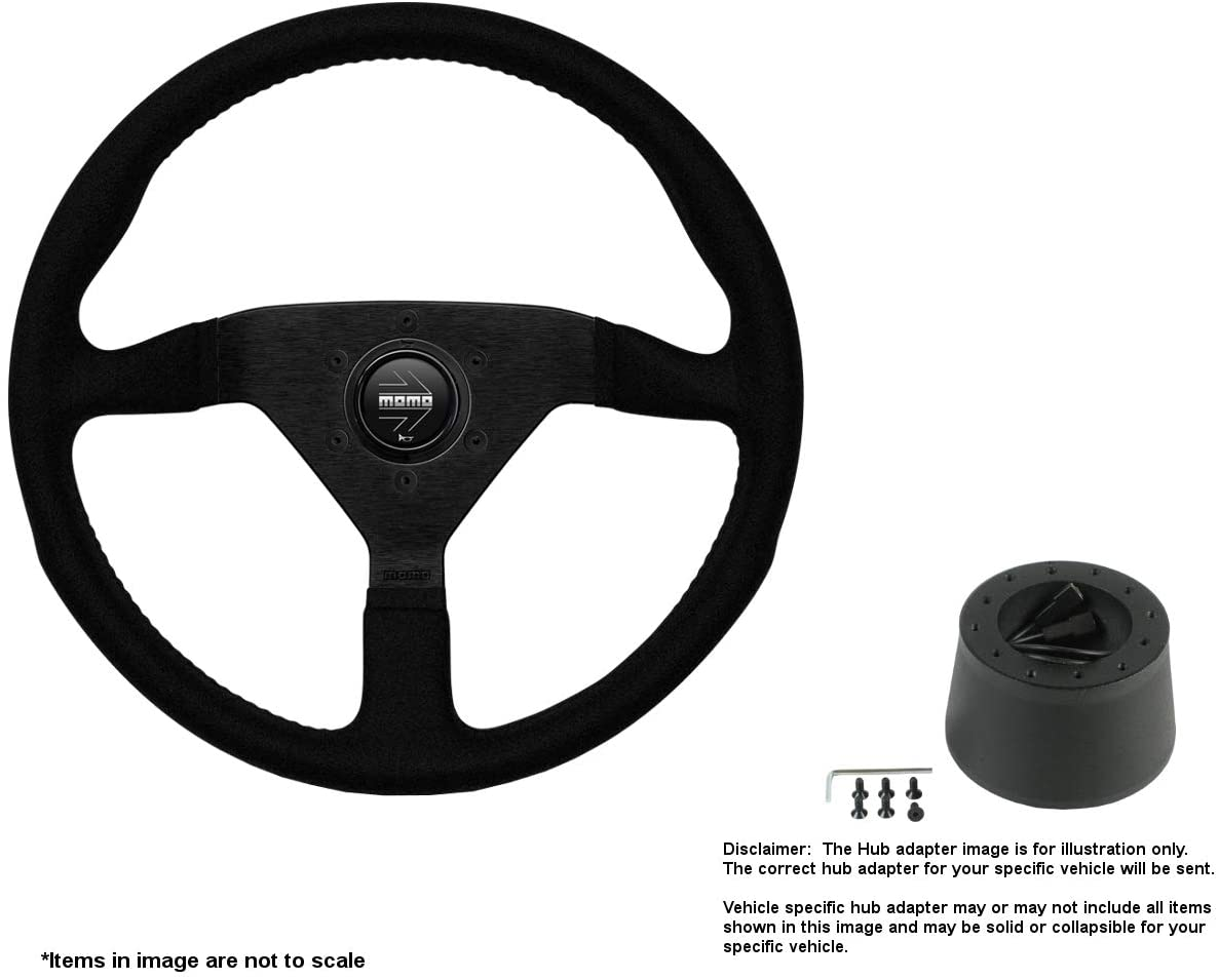 MOMO Montecarlo 320mm (12.6 Inches) Alcantara Steering Wheel w/Brushed Black Anodized Spokes and Crowder's Hub Adapter for Jaguar XJ6 Part # MCL32AL1B + 5273