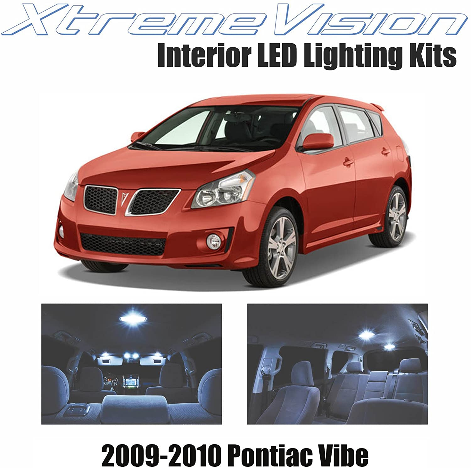 Xtremevision Interior LED for Pontiac Vibe 2009-2010 (5 Pieces) Cool White Interior LED Kit + Installation Tool