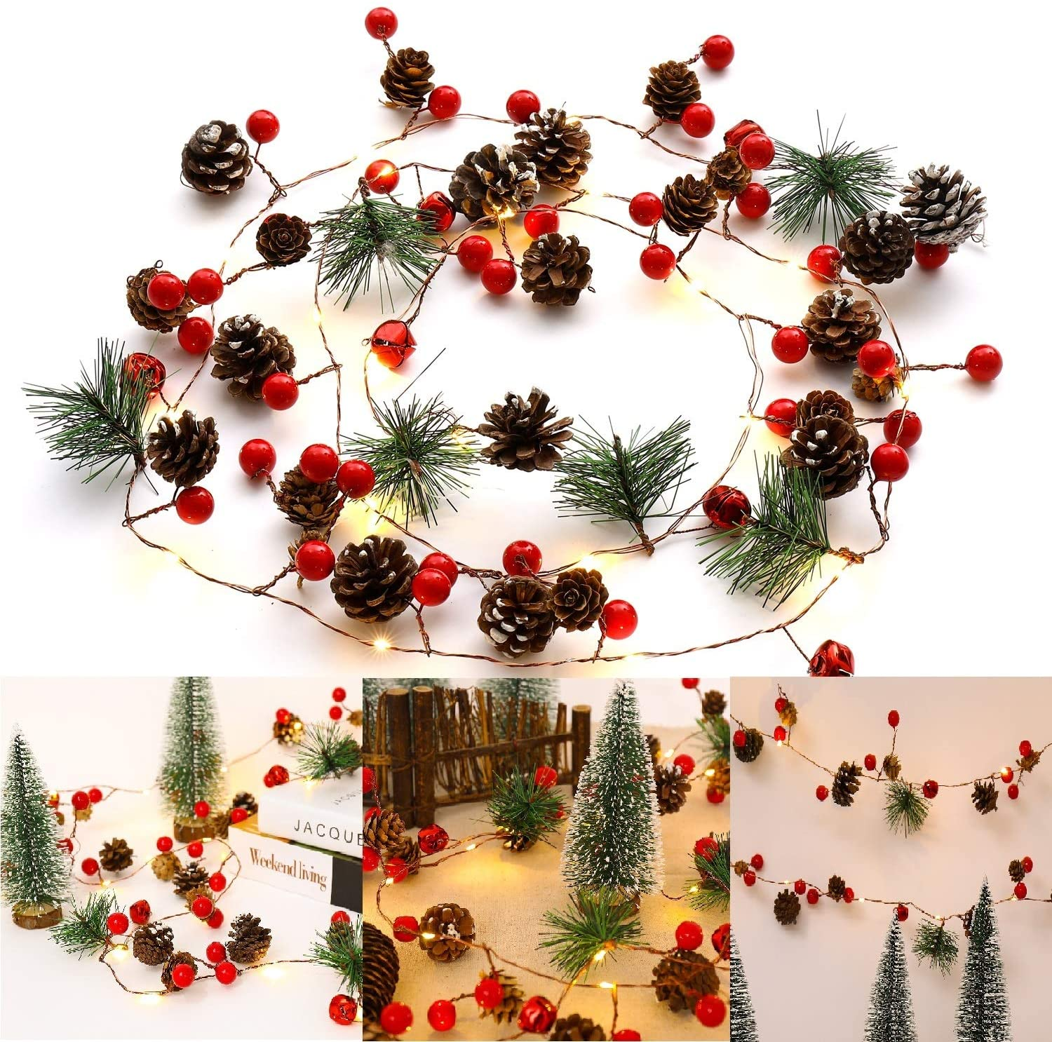 MODCON Christmas Garland Lights Pinecone Light Battery Operated Red Berry Pine Cone Fall Decor Garland Lights for Indoor Outdoor Thanksgiving Decorations Christmas Party