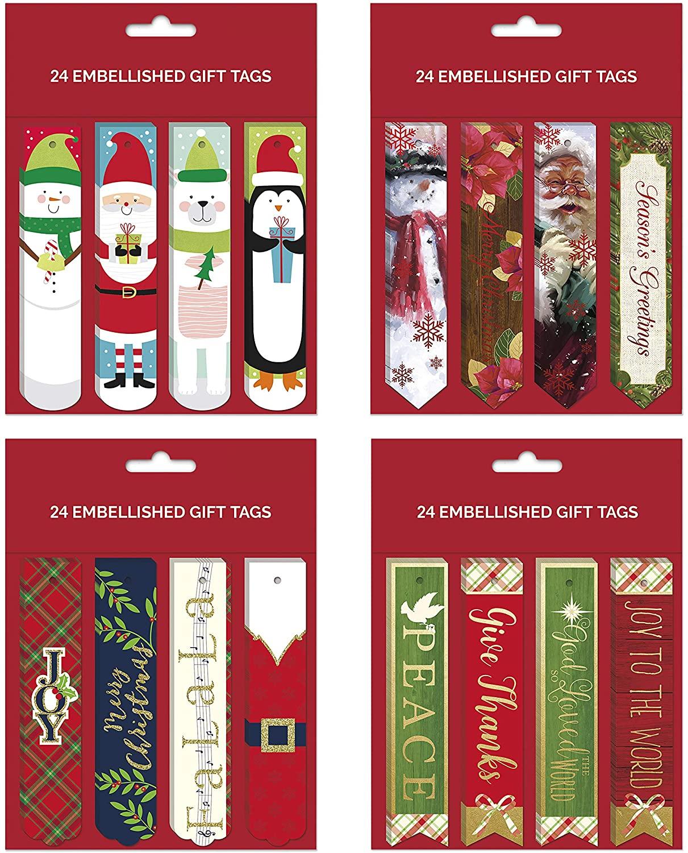 B-THERE Bundle of 96 Embellished Christmas Gifting Tags, Holiday Gift Tags Gifting Supplies
