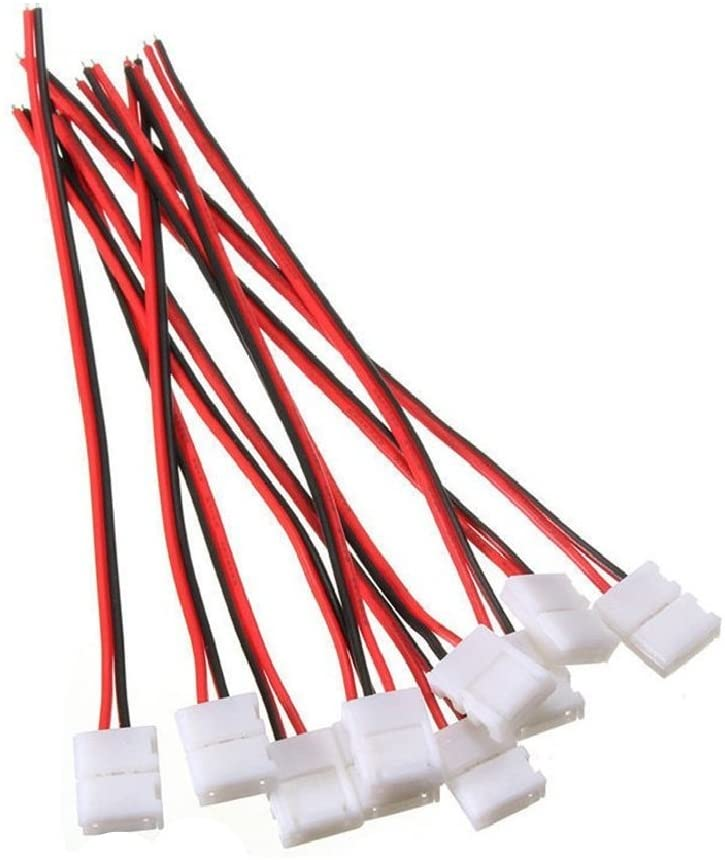 10Pcs 2Pin 10mm LED Strip Connector Strip Wire Solderless Snap Down LED Strip Pigtail Connectors for 10mm Wide 5050 5630 Single Color Flex LED Strips