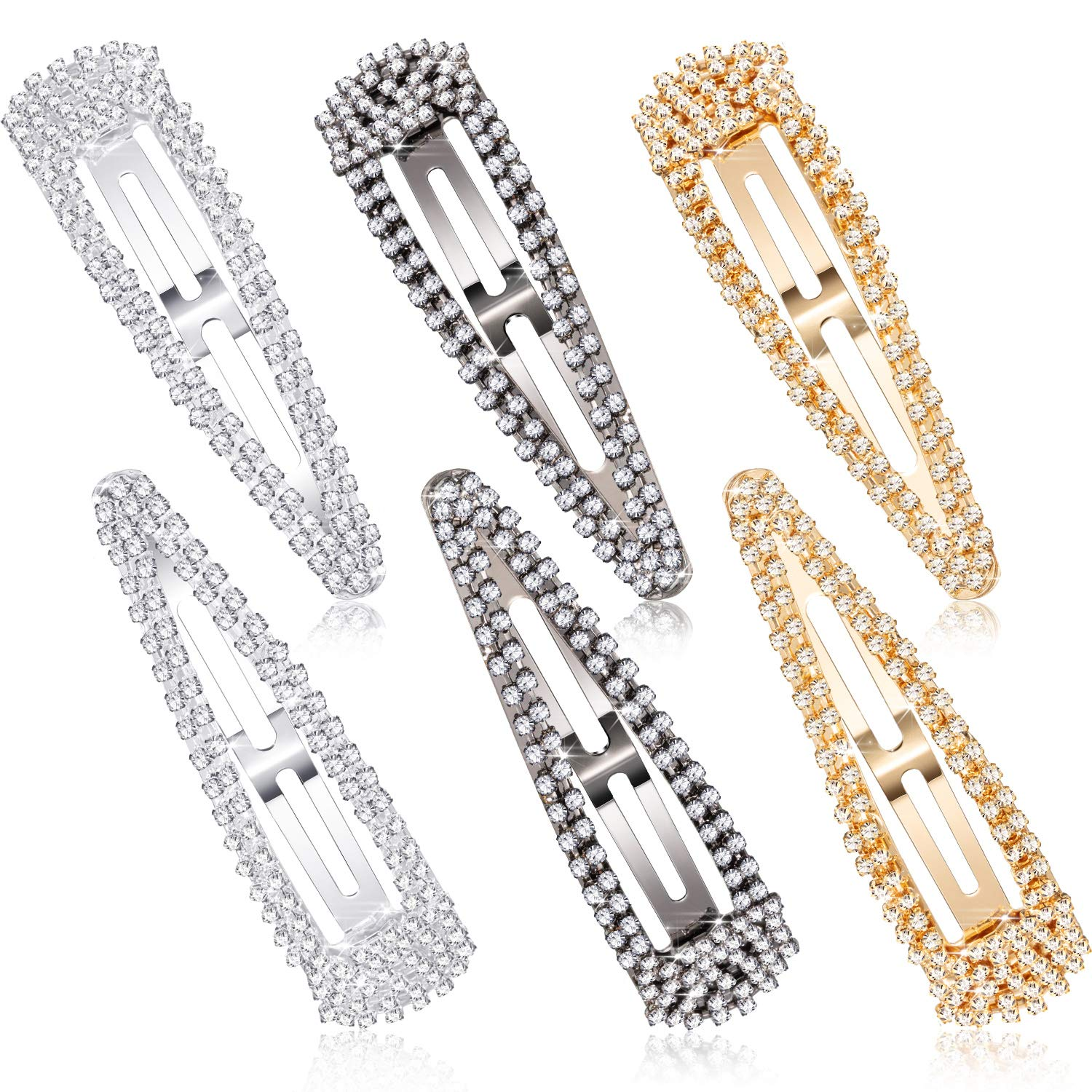 6 Pieces Rhinestone Hair Clips 3 Inch Snap Hair Barrettes Bridal Hair Barrettes Pins for Women Girls Wedding Hairpins Hair Accessories (Black, Silver, Gold)