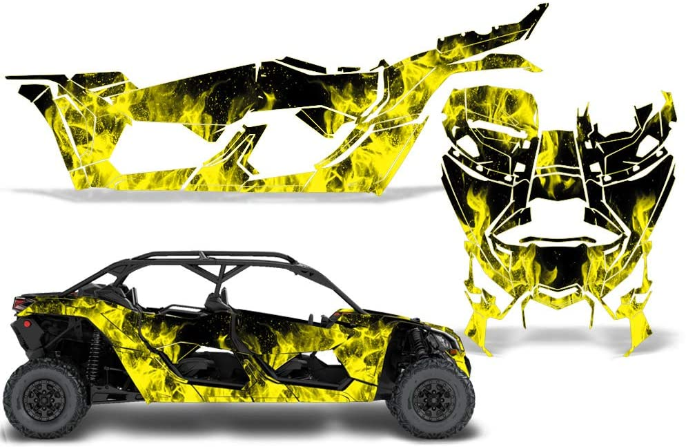Wholesale Decals UTV Graphics kit Sticker Decal Compatible with Can-Am Maverick X3 4-Door All Years - Yellow Flames