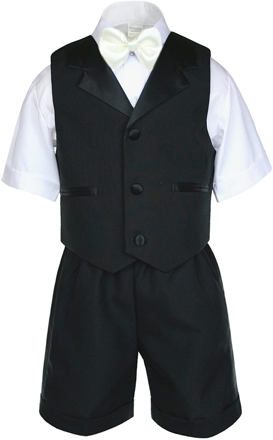 Unotux Boys Black Short Vest Sets Suits Outfits Extra Ivory Bow Tie Baby Toddler