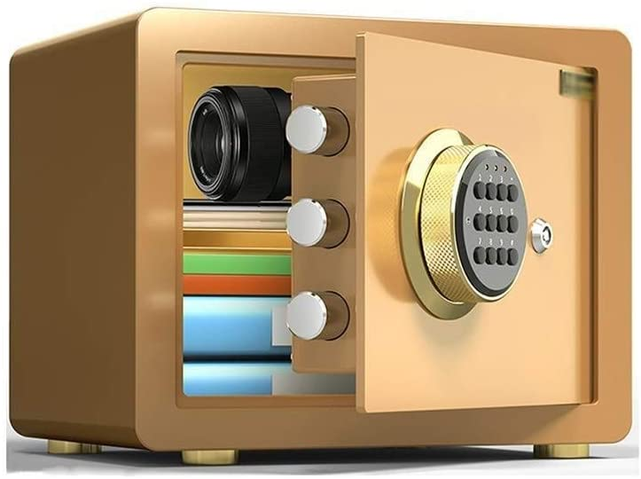 Household safe Safe Box, 25/30cm All Steel Electronic Digital Password Safety Deposit Box with Alarm Function Password Lock Box Storage Jewelry Cash Valuable Objects Drug Black Gold Electronic safety