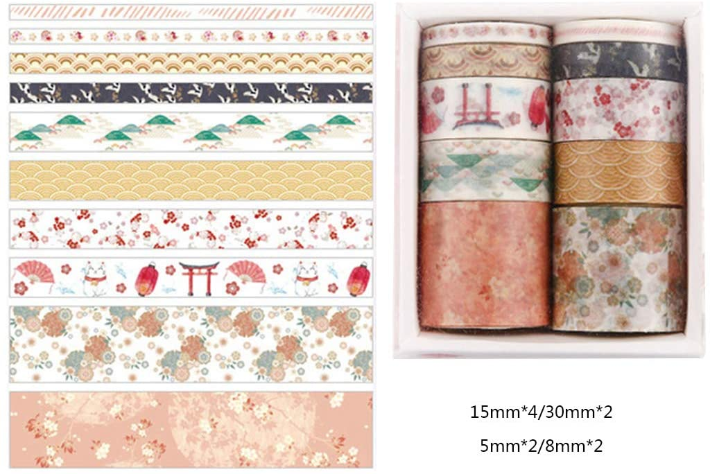 minansostey 10Pcs/Box Fantasy Ocean Beautiful Flowers Plants Leaves Washi Tape DIY Decoration for Scrapbooking