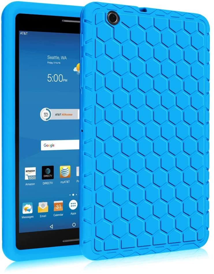Fintie Silicone Case for AT&T Trek 2 HD (Model 6461A) - [Honey Comb Series] Light Weight Shock Proof Protective Cover [Anti Slip] [Kids Friendly] for 8-inch AT&T Trek 2 HD (2016), Blue