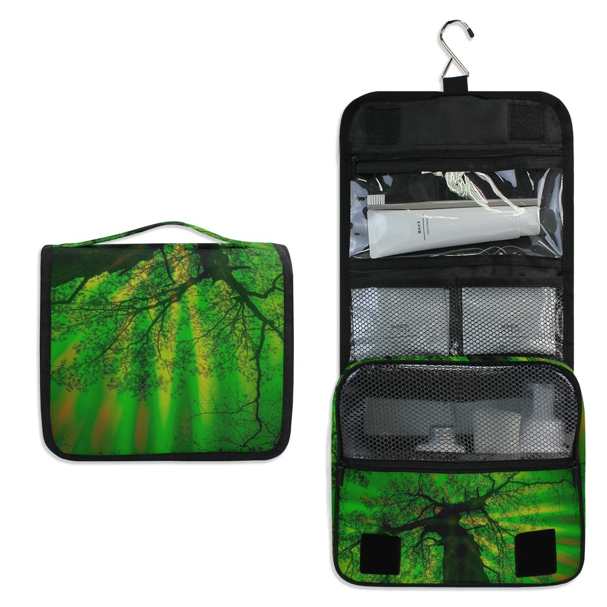 Toiletry Bag Travel Bag Hanging Hook - Green Forest Waterproof Cosmetic Bag Portable Makeup Pouch for Girls Men Women