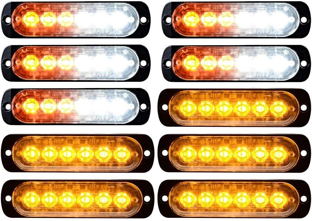 5pcs White Amber + 5pcs Amber 6-LED 18W Emergency Warning Strobe Lights
