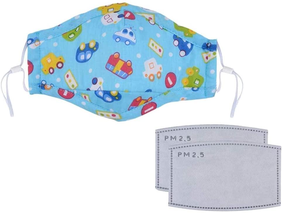 Reusable Cotton Face Мasκ, Washable Face Bandanas for Kids, Cute Cartoon Breathable Non-Woven Mouth Filter, Anti-Haze Dust Face Coverings
