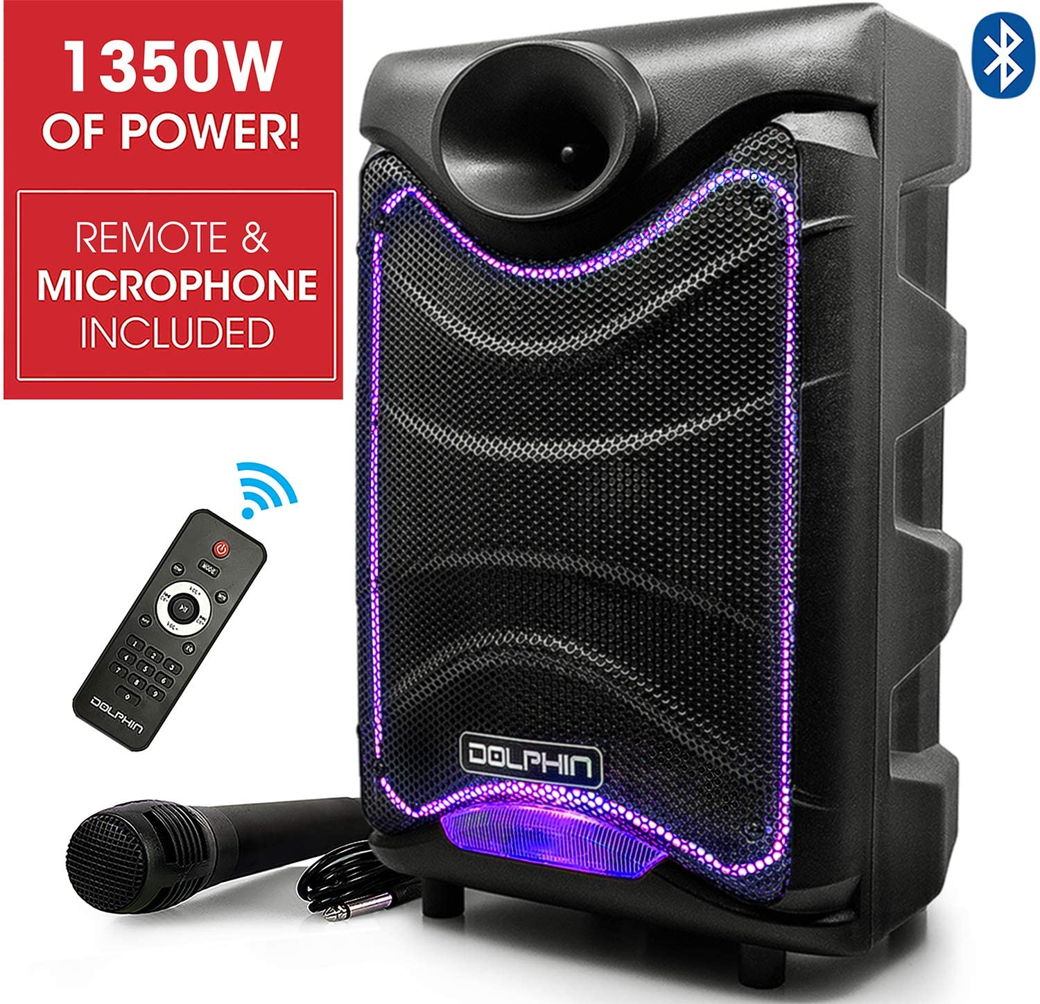 Dolphin SP-850RBT Portable Bluetooth Party Speakers with Lights and Microphone, 8
