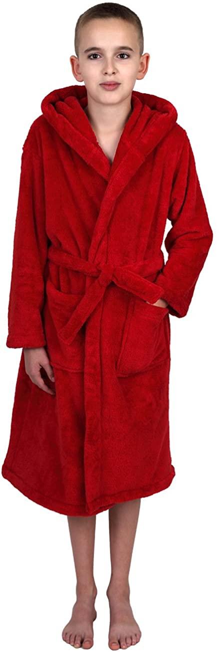 TowelSelections Boys Robe, Kids Plush Hooded Fleece Bathrobe