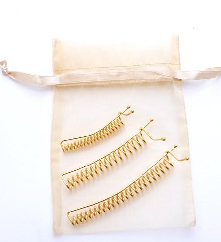 SpyralClips - Set of 3 Gold Finish - Small, Med & Lrge. For securing hair up or back. Made in China.