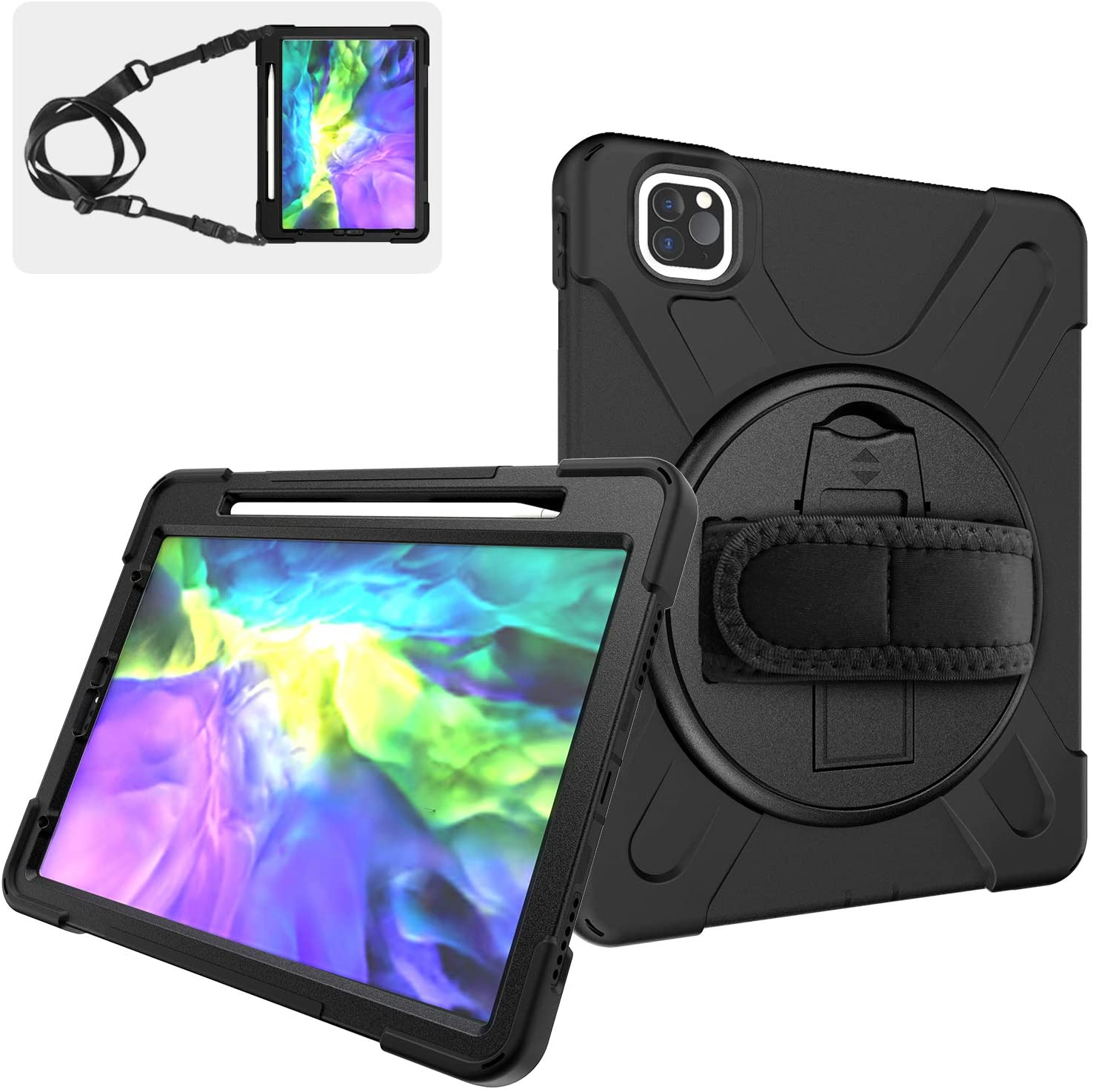 iPad Pro 11 Case 2020 with Pencil Holder | SIBEITU iPad Pro 11 Inch case 2nd Gen/ 1st Gen 2018 with Stand | Hard Durable Rugged Protective Cover w/Handle Strap for iPad Pro Case 11 Inch | Black