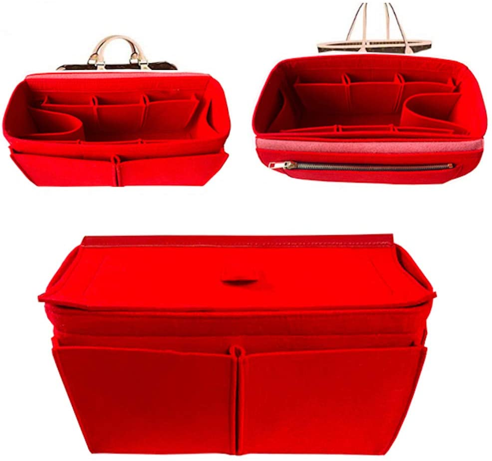 Purse Organizer Insert, 3MM Premium Felt Bag organizer with zipper, Handbag Tote Shaper, For Neverfull PM MM GM Tote, 5 Sizes (LV-Speedy-25, red)