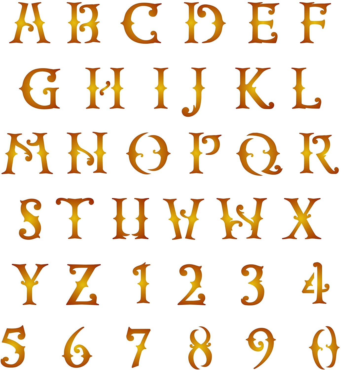 Western Letter Stencil, 1½ inch (L) - Letter Number ABC Alphabet Wall Stencils