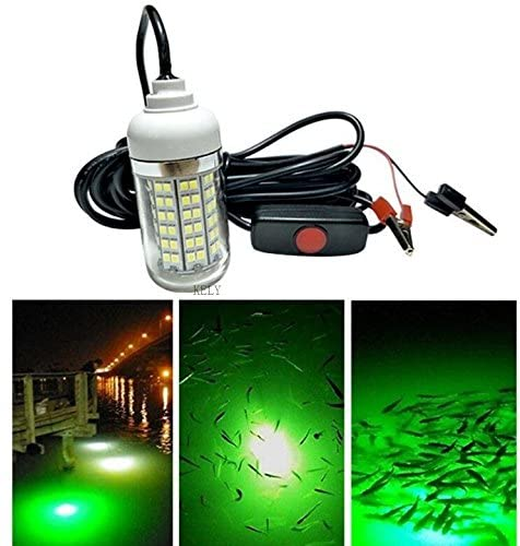 KELY 12V 108 LEDs 900 Lumens IP67 LED Underwater Submersible Night Fishing Light Crappie Shad Squid Boat Fishing Light Green