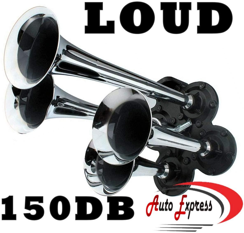 Auto Express Air Horn Kit 100 psi 4 Trumpet 150dB Truck Bus Car Train Air System - Chrome